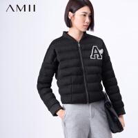 AMII[极简主义]冬新品立领网格宽松落肩拉链羽绒服女11581638