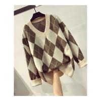 撞色V领菱形格子针织衫女冬季韩版复古保暖百搭显瘦套头毛衣上衣 均码
