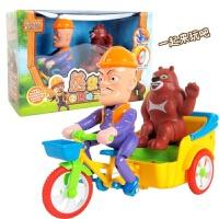 熊出没电动三轮玩具车灯光音乐光头强哥熊大熊二骑三轮车车模粉红小猪 光头强熊大三轮车 标配+送电池+卡通贴纸