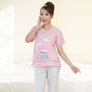 金丰田女士夏季短袖家居服套装 女式条纹五分裤睡衣两件套1542