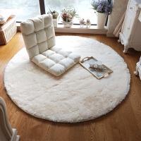 乳白色长毛圆形地毯摇椅毯吊篮毯客厅休闲卧室床边毯圆形电脑椅毯