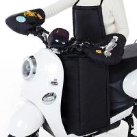 冬季电动车手套棉把套 电动摩托车保暖把套 电瓶车防风防水挡风被 猫鼠黑色(护胸款挡风 手套)