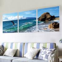 沙发背景墙装饰画现代客厅大气简约三联餐厅挂画卧室无框壁画海景 80*80(建议3-4米墙面) 25mm蜂窝夹层板
