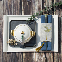 【新品热卖】样板间会所新中式餐具套装 酒店摆台禅意复古餐盘 日式长方形茶盘