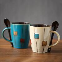创意陶瓷杯复古马克杯日式简约杯子咖啡杯家用水杯带盖勺