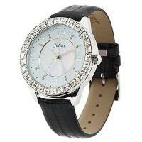 2018新款 Julius/聚利时 鳄鱼皮纹表带女士手表 璀璨水晶女表 白盘黑带