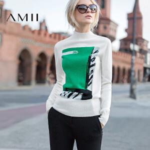 【品牌团 1件7折/2件5折】AMII[极简主义]冬装新品女半高圆领抽象织画羊毛毛衣11671801