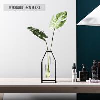 几何图形玻璃摆件 简约北欧风几何玻璃绿萝水培干花假花铁艺花瓶客厅餐桌装饰摆件设B