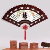 新中式木雕玄关装饰画客厅背景墙 餐厅走廊书房过道浮雕装饰画 扇子 扇形木雕挂件中 120*60CM