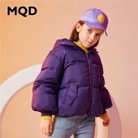 MQD童装女童羽绒服2019冬季新款连帽短款羽绒服儿童保暖外套90绒