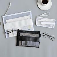 巨门黑白细网格皮质拉链袋 A4透明文件袋手提 ins简约大学生笔袋