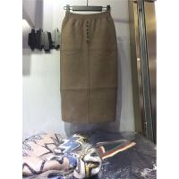羊绒针织半身裙秋冬2018新款冬季女包臀中长款的裙子长裙 均码