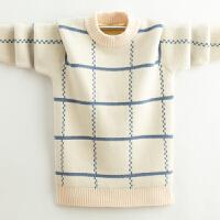 男孩套头圆领保暖上衣新款冬男童毛衣中大童加绒加厚针织衫