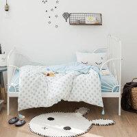 婴儿床上用品婴儿床品幼儿园被子三件套蓝色波点0.6m1.2米床上用品ZQ-YS020 蓝色波点