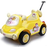 新款儿童电动车可坐卡通车遥控四轮汽车宝宝婴儿童车带推杆zf10