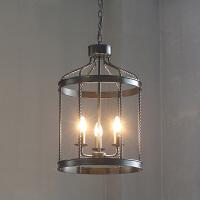 铁艺美式乡村吊灯 客厅餐厅复古loft卧室工业风大气吊灯 3头 半光黑