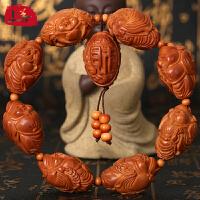 上善文玩手串男橄榄核雕刻手链横财神橄榄胡八大财神手工女款苏工