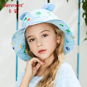 卡蒙3-6岁纯棉宝宝渔夫帽盆帽夏卡通图案女童遮阳帽大帽檐蝴蝶结 4663