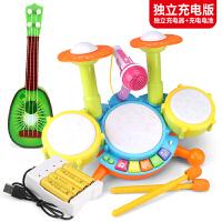 �和�架子鼓玩具�子鼓敲打爵士鼓����初�W者�菲髂泻⑴�孩1-3-6�q 充�版�痈芯羰抗�+�筒+小吉他 充�器+充��池