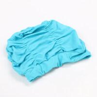 2018新款 女士大号护耳布泳帽时尚纯色个性舒适褶皱长发粉色女孩游泳帽 湖蓝色