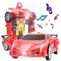 电动万向布加迪兰博基尼汽车人灯光音乐变形车机器人玩具批