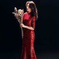 敬酒服新娘2018新款秋季长袖鱼尾红色旗袍结婚礼服女修身中式长款 955 【鱼尾】酒红色 X