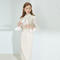 【2件3折】ONE MORE2020秋季新款米色无袖连衣裙气质衬衫两件套