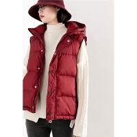 秋冬女士羽绒马甲 韩版小个子宽松短款无袖羽绒服 可卸帽外套
