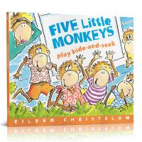 顺丰发货 Five Little Monkeys Play Hide and Seek五只小猴子 Eileen Christelow 廖彩杏推荐绘本 幼儿启蒙认知英文原版亲子读物 平装大开本