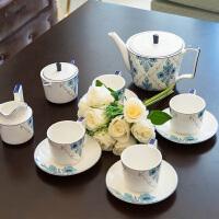 简欧式美式法式样板间样板房高档骨瓷白底蓝花咖啡杯咖啡具套装 11头雅致咖啡杯