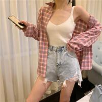 春夏女装新款韩版百搭显瘦POLO领单排扣长袖格子衬衫宽松休闲外套