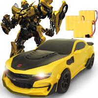 变形金刚玩具电影5可声控感应变形遥控车擎天柱大黄蜂充电汽车人模型