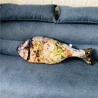 仿真大鸡腿猪蹄子食物零食抱枕创意毛绒玩具网红搞怪男女生日礼物 香槟色 烤鲈鱼80厘米