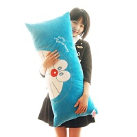 哆啦A梦机器猫卡通毛绒长抱枕可拆洗情侣单双人枕头 蓝色经典款