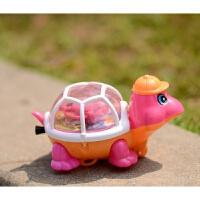 拉线发光小乌龟玩具 地摊发条玩具 上链发条玩具会走的小乌龟抖音 颜色随机