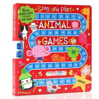 动物游戏旋转和玩耍Animal Games Spin and Play 英文原版 Dawn Machell 儿童启蒙纸