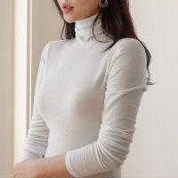 高领打底衫女长袖T恤加绒加厚棉2018秋冬新款潮堆堆领百搭上衣