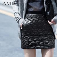 AMII[极简主义]秋冬新品百搭夹棉纯色撞料拼接修身包臀短裙11541077