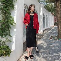 冬季网红晚秋欧货气质显瘦毛衣搭配冬裙俏皮两件套装女神范长裙潮