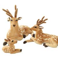 仿真*毛绒玩具麋鹿小鹿玩偶马达加斯加长颈鹿公仔圣诞节礼物