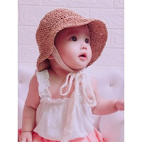 小孩太阳帽夏儿童草帽韩国宝宝遮阳帽防晒帽沙滩蕾丝渔夫帽子亲子 均码 妈妈款