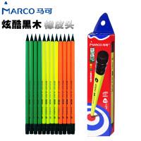 MARCO/马可 9007-12CB 高级书写铅笔12支装/HB 无铅毒黑木多彩带橡皮头三角笔杆小学生用作业练字笔套装
