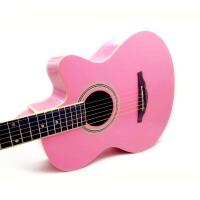 支持货到付款 ULTRA 可爱粉色 指定粉色 民谣吉他 40寸 缺角 民谣吉他 可爱流线 琴头设计 初学 入门吉他 (*品:吉他防雨包 吉他拨片  背带 一弦 扳手 《即兴之路》初学中级教程+CD a