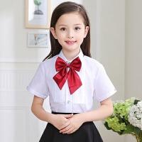 校服园服班服儿童装胸前褶皱女童白衬衫短袖白色衬衣节目表演出服