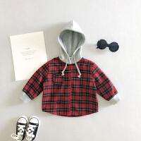 2018春秋装1新款2男童长袖格子连帽衬衫呢子外套4儿童3岁宝宝衬衣ZQ03 红色
