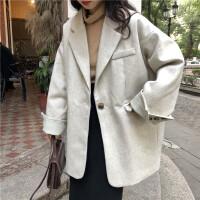秋冬女装韩版赫本风宽松夹棉加厚呢子大衣中长款宽松西装毛呢外套 均码