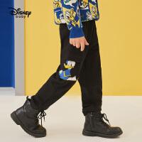 【4折券后价:63.7元】迪士尼男童针织工装长裤2021春装洋气童装儿童宝宝唐老鸭裤子