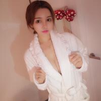 秋冬季韩国白色花边珊瑚绒性感女士睡袍法兰绒睡衣浴巾浴袍加长款