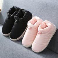 情侣棉拖鞋女包跟羽绒布家居棉鞋保暖外穿月子拖鞋冬季男室内软底