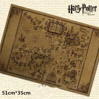 哈利波特世界手绘地图 活点霍格沃茨牛皮纸复古海报装饰画 哈利波特手绘地图 51*35